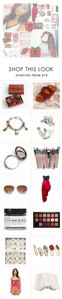 """{ christmas gifts } enrique"" by madness-anxns ❤ liked on Polyvore featuring La Maison Du Chocolat, Kim Rogers, Odeme, Stella & Dot, Moschino, Fig+Yarrow, Huda Beauty, Iosselliani, Nanette Lepore and Coleman"