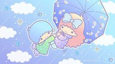 Little Twin Stars My Melody Wallpaper, Star Wallpaper, Little Twin Stars, Star Cloud, Sanrio Characters, Kawaii Cute, Anime Chibi, Tea Party, Hello Kitty