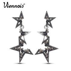 Viennois moda jóias de prata do vintage longos brincos pendurados para a mulher brincos estrela de strass acessórios de moda do punk