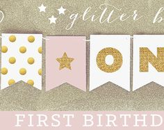Glitter Birthday Banner Sparkle Birthday by ThreeLittleParties
