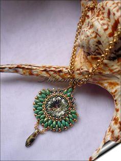 Beautiful Turquoise Green Picasso Superduo Pendant (Alessandra Caroletti)