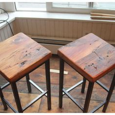 Reclaimed Pine on Metal Square Bar Stools by Vermontfarmtable - eclectic - bar stools and counter stools - Etsy Essential Woodworking Tools, Best Woodworking Tools, Woodworking Projects, Woodworking Lamp, Woodworking Organization, Woodworking Supplies, Counter Height Pub Table, Counter Stools, Kitchen Stools