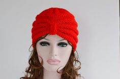Red Knitted Turban, Turban Hat, Knit Hat, Chunky Hat, Beanie Knit , Winter Hat £14.00