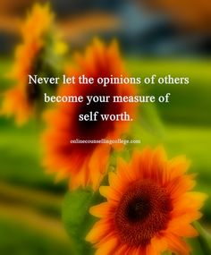 """Never let the opinions of others become your measure of self-worth."" Self improvement and counseling quotes. Created and posted by the Online Counselling College."