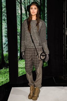 Charlotte Ronson. Fall 2013. Textured tweed mix. Leather gloves. Leather platform chelsea boots. Cute contrast across the body bag.