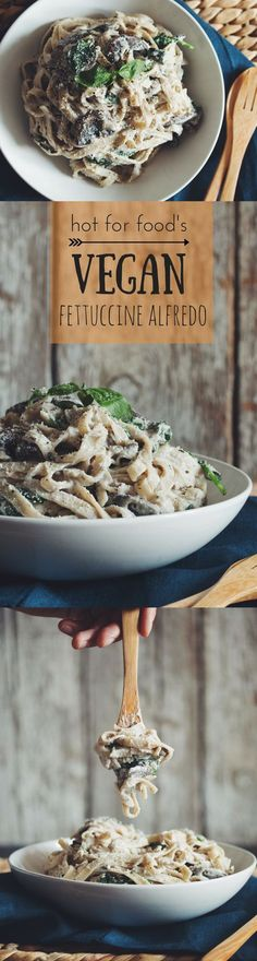 Dive into a comforting guilt-free dinner with this creamy vegan mushroom fettuccine alfredo! White wine, mushrooms, and cashew cream combine for a pasta dish that'll have your tastebuds singing. Veggie Recipes, Whole Food Recipes, Vegetarian Recipes, Cooking Recipes, Healthy Recipes, Family Recipes, Vegan Alfredo, Alfredo Recipe, Vegan Foods