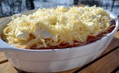 Csirkemelles rakott spagetti