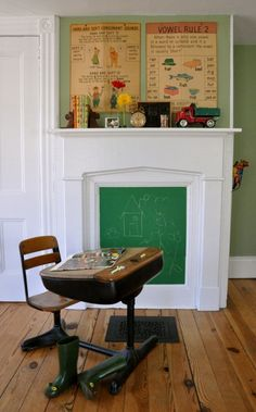 vintage phonics posters, truck, clock, chalkboard, books w/ bookends for back to school mantel