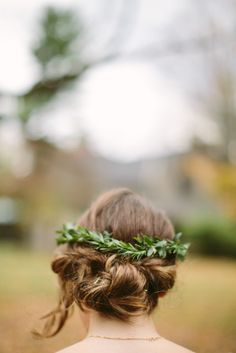 Olive branch flower crown and a rolled updo: http://www.stylemepretty.com/new-york-weddings/2015/05/12/modern-upstate-new-york-wedding/ | Photography: Adam & Sam - http://cmostr.com/