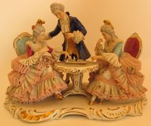 Dresden Wilhelm Rittirsch Game Table Porcelain Figurine Lace Group