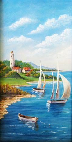 Newport Bay un arte original acrílico pintura de la costa
