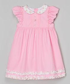 Look at this Pink Peter Pan Collar Smocked Dress - Infant & Toddler on #zulily today!