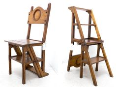 Incredible Victorian Oak Library Chair with steps from the early 19th century from The Midlands, England. chair measurements: 17″L x 14″W x 36″H ladder measurements: 35.5″H x 21.5″W x 14″L priced at $850 Related Library Chair, Drafting Desk, 19th Century, Victorian, The Incredibles, Doors, Contemporary, Ladder, Projects