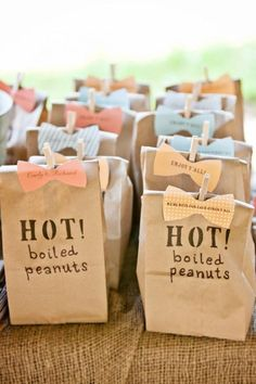 Bags of Boiled Peanuts Wedding Favors. For a taste of the south, give your wedding guests bags of freshly-made boiled peanuts. Bonus points for couples that use similar bow tie-shaped tags! Budget Wedding Favours, Edible Wedding Favors, Wedding Gifts For Guests, Party Favors, Wedding Reception, Wedding Planning, Wedding Ideas, Wedding Catering, Party Guests