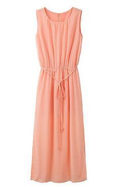 O-neck Sleeveless Chiffon #Maxi Beach #Dress