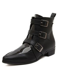 Black Point Toe Buckle Strap Boots 35.00