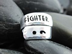 Semicolon Wrap Ring - Fighter - Semicolon Project - Encourage, Love, Inspire - Mental Health Awareness - Suicide Prevention by ShawnaLaneCreations on Etsy https://www.etsy.com/listing/245000169/semicolon-wrap-ring-fighter-semicolon