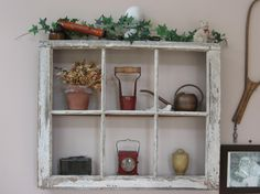 old window pane -turned into shadow box.  remove glass.