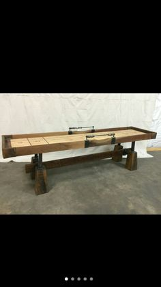 Diy Furniture, Outdoor Furniture, Outdoor Decor, Shuffle Board, Shuffleboard Table, Pool Table, Table Games, Diy Table, Board Ideas