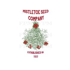Vintage Mistletoe Seed Company Christmas Sign Holiday Graphics Instant Download Transfer Linen Fabric Digital Collage Sheet Graphic Print by FrenchPaperMoon on Etsy