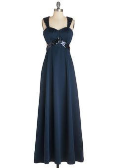 Dazzling at Dusk Dress. Lampposts illuminate the path before you, catching the effortless sheen of the sequins on your navy gown as you promenade arm-in-arm with your date. #blue #prom #modcloth