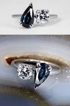"""A deep ocean blue, natural, Sapphire from Australia sits next to a vintage post-consumer round brilliant diamond in our minimal Toi et Moi Ring. A modern interpretation of the so named """"Me and You"""" french style that has played a part of the grandest love stories in history. Including the two stone ring Napoleon Bonaparte, at the time a revolutionary soldier in the French army proposed to Joséphine de Beauharnais with."""