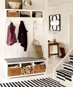 Entryway design is very important for a welcoming in your home. Here are a myriad of inspirational entryway ideas and designs. Coat Closet Organization, Entryway Organization, Home Organization Hacks, Organizing, Organized Entryway, Architecture Design, Entry Closet, Closet Mudroom, Door Entry