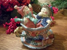 Tea Cup Children Toys and Quilt Figurine Vintage Resin Winter Holiday…