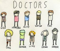 Doctors.  I needs me some plushies in this style. Challenge accepted, previous Pinner.