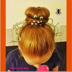 Spider bun hairstyle - so easy and fun for Halloween or maybe crazy hair day Crazy Hair For Kids, Crazy Hair Days, Little Girl Hairstyles, Bun Hairstyles, Halloween Hairstyles, Cindy Lou Who Hair, Wacky Hair, Lumpy Space Princess, Fantasy Hair