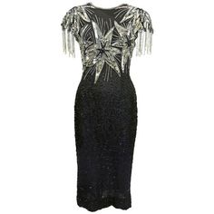 c95169ae5cdc Preowned Laurence Kazar Black And Silver Sequin Stars Dress