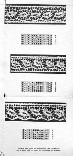 Kunststrick Muster 1501 p07 Einsätze und Spitze mit Blattmuster