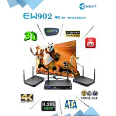EW902 - 4K+3D+HDMI IN+USB3.0+1000M Ethernet+SATA Realtek 1195 Android TV Box Promotion, Android, Tech, 3d, Unique, Technology