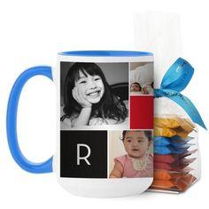 Monogram Memories Mug, Light Blue, with Ghirardelli Minis, 15 oz, Red
