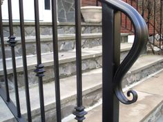 Wrought Iron Railing with Lamb's Tail Rail End