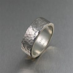 8mm Hammered Sterling Silver Band Ring -   Makes a unique Engagement Ring, Commitment Ring, or Friendship Ring.