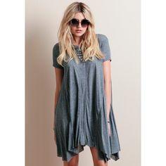 Highs And Lows Asymmetrical Dress ($38) ❤ liked on Polyvore featuring dresses, tee shirt dress, blue short sleeve dress, tshirt dress, oversized t shirt dress and trapeze dress