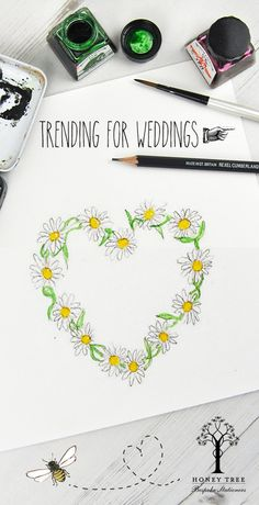 Wedding Boutique with a vintage theme. Check out our range of Floral Hearts. Heart of Daisies shown. Welcome to HoneyTree - Premium Bespoke, Illustrated & Personalised Stationery to #CreateABuzz.