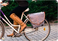I need this as I want to bike everywhere this summer!! That's the justification anyways ;)  Grey -Orange  Leaf Bike Pannier  Bag,Messenger Bag, Bike accessory Bike Messenger bag on Etsy, $60.06 CAD