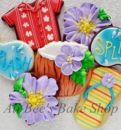 Beautiful Tropical Pool Party Cookie by via Luau Cookies, Summer Cookies, Flower Cookies, Cupcake Cookies, Hawaiian Cookies, Cupcakes, Easter Cookies, Biscuit Decoration, Tropical Pool