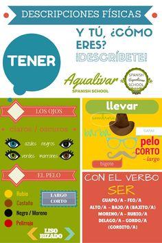 ¿Y tú cómo eres? Cuando queremos describir nuestra apariencia física en español, podemos utilizar los verbos: ser, tener y llevar. ¡Anímate! ¡Díme cómo eres! :)