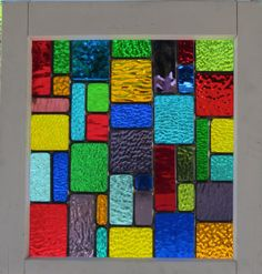 Multi Color Stained Glass Reclaimed Wood Window by DebsGlassArt