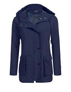 SoTeer Waterproof Lightweight Rain Jacket Active Outdoor Hooded Raincoat For Women(Navy Bule-S) #RaincoatsForWomenHoods