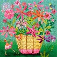 Postkarte Tasche mit Blumen