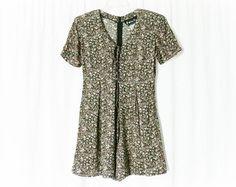 Vintage 90s Black Floral Shorts Romper M by PopFizzVintage on Etsy