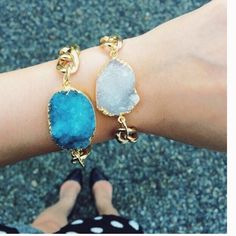 White Druzy Stone Bracelet Gold dipped natural white Druzy stone. Nickel and Lead Free. Adjustable Chain T&J Designs Jewelry Bracelets
