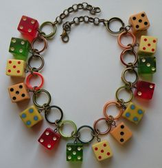 Colorful and fun artist made bakelite dice and celluloid chain choker necklace #Choker
