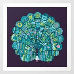Peacock at noon Art Print by Farnell - $18.72
