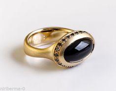 Cabochon-Onyx-Ring-amp-Black-Diamonds-Ring-Black-Gemstone-18k-Gold-Ring-Size-6