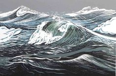 """Limited edition woodblock print """"A Winter SEa"""" by contemporary British printmaker Merlyn Chesterman. Large Wall Canvas, Canvas Art, Linoprint, Ocean Art, Wood Engraving, Linocut Prints, Woodblock Print, Illustration, Nature"""
